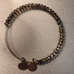 Alex and Ani brown bead and  gold bracelet